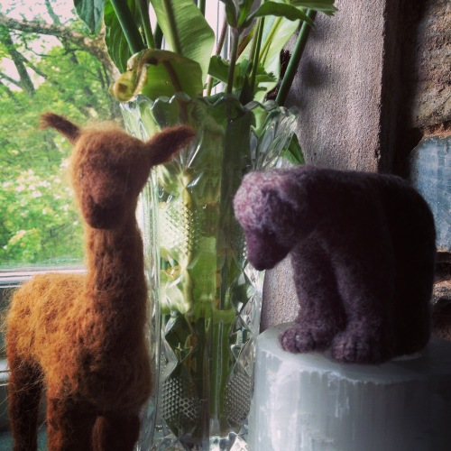 Needlefelted alpaca and bear by Kim Tillyer