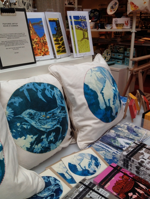 The Great Print Exhibition Rheged, Cumbria. Cushions by Kim Tillyer