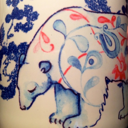 detail of polar bear mug design