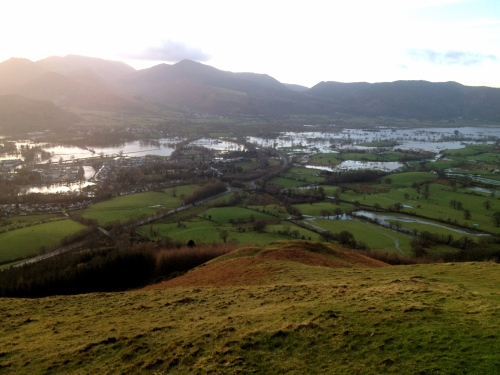 Keswick and Bassenthwaite floods from Latrigg