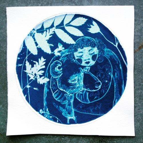 bear hug cyanotype
