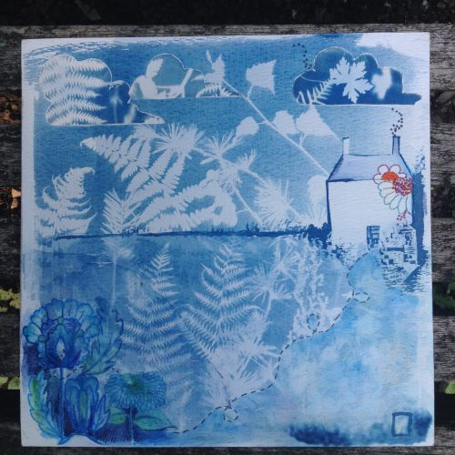 cyanotype and embroidery