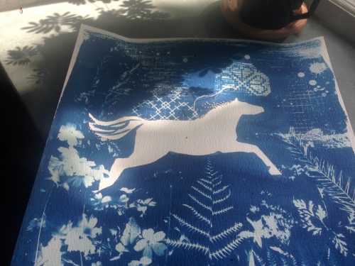 work in progress, ghost pony cyanotype