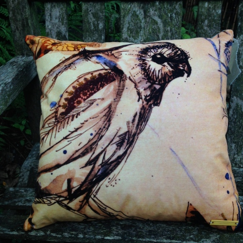 velvet owl cushion by Kim Tillyer