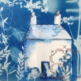 Detail of cyanotype and embroidery SOLD