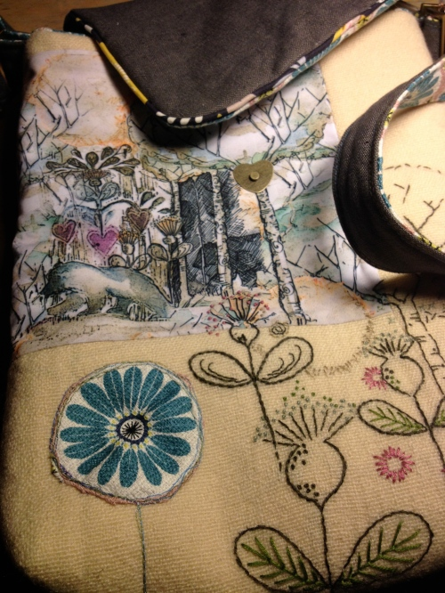 embroidered messenger bag by Kim Tillyer